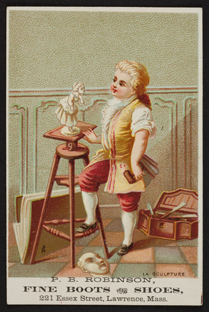 Trade card for P.B. Robinson fine boots and shoes, 221 Essex Street, Lawrence, Mass., undated