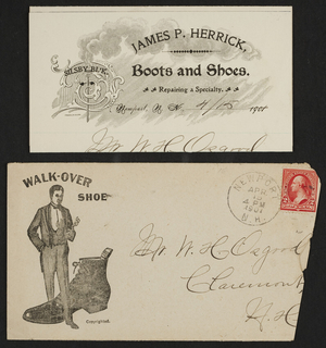 Letterhead for James P. Herrick, boots and shoes, Newport, Rhode Island, dated April 15, 1901