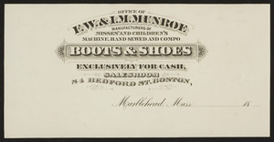 Billhead for F.W. & I.M. Munroe, boots & shoes, Marblehead, Mass., ca.1800