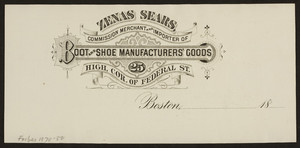 Billhead for Zenas Sears, boot and shoe manufacturers' goods, High, corner of Federal Street, Boston, Mass., ca. 1800