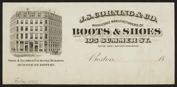 Billhead for J.S. Corning & Co., boots & shoes, 105 Summer Street, Boston, Mass., ca. 1800