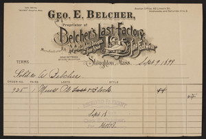 Billhead for Geo. E. Belcher, shoes, Stoughton, Mass., dated September 9, 1899