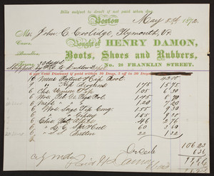 Billhead for Henry Damon, boots, shoes and rubbers, No. 20 Franklin Street, Boston, Mass., dated May 8, 1872
