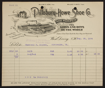 Billhead for the Pillsbury-Howe Shoe Co., shoe makers to the girls and boys of the world, West Derry, New Hampshire, dated August 25, 1904