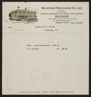 Billhead for Bickford Moccasin Co., Inc., moccasins, 4-8 Washington Street, Auburn, Maine, dated July 12, 1926