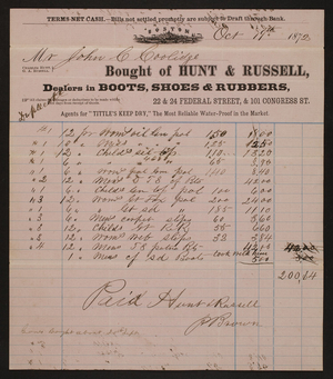 Billhead for Hunt & Russell, boots, shoes & rubbers, 22 & 24 Federal Street, & 101 Congress Street, Boston, Mass., dated October 19, 1872