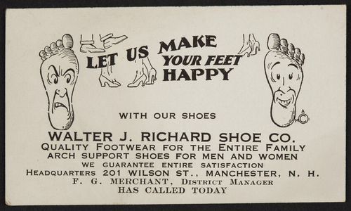 Trade card for the Walter J. Richard Shoe Co., 201 Wilson Street, Manchester, New Hampshire, undated