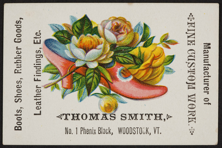 Trade card for Thomas Smith, shoes, No. 1 Phenix Block, Woodstock, Vermont, undated
