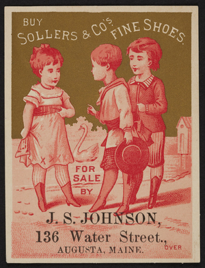 Trade card for S.D. Sollers & Co.'s, fine shoes, 417 Arch Street, Philadelphia, Pennsylvania, 1880
