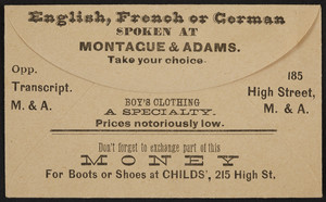 Envelope for Montague & Adams, boy's clothing, 215 High Street, location unkown, undated