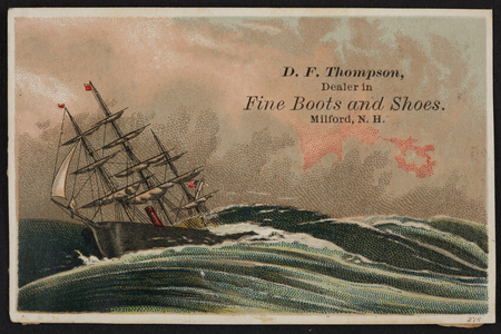 Trade card for D.F. Thompson, fine boots and shoes, Milford, New Hampshire, undated