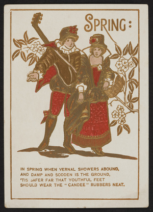 Trade card for The Candee, specialties in rubber boots and shoes, C.H. Hopkins, Greenfield, New Hampshire, undated