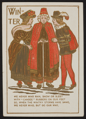 Trade card for Candee Arctics, shoes, C.H. Hopkins, Greenfield, New Hampshire, undated