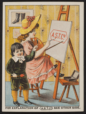 Trade card for The American Shoe Tip Company (A.S.T. Co.), Boston, Mass., undated