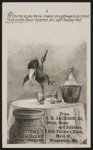 Trade card for Button's Raven Gloss Shoe Dressing, Button & Ottley, Mf'rs., 56 Warren Street, New York, New York, undated