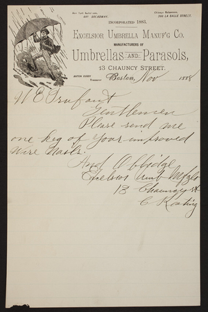 Letterhead for the Excelsior Umbrella Manuf'g Co., umbrellas and parasols, 13 Chauncy Street, Boston, Mass., dated November, 1888
