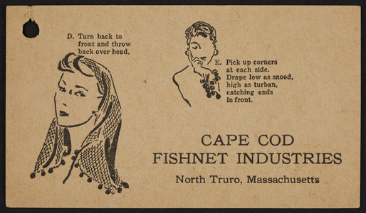 Trade card for the Cape Cod Fishnet Industries, North Truro, Mass., undated