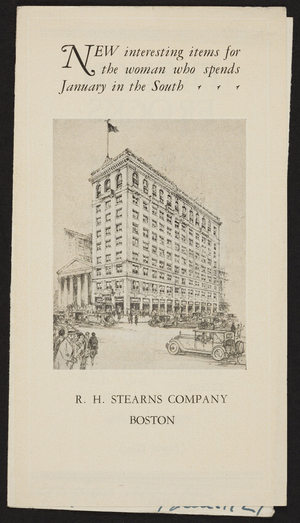 New interesting items for the woman who spends January in the south, R.H. Stearns Company, Boston, Mass., undated