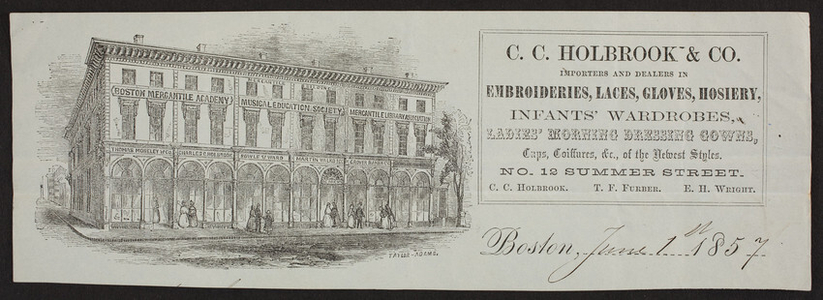 Billhead for C.C. Holbrook & Co., embroideries, laces, gloves, hoisery, No. 12 Summer Street, Boston, Mass., dated June 1, 1857