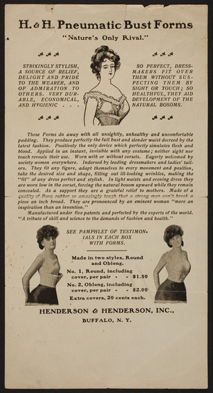 Leaflet for H. & H. Pneumatic Bust Forms, Henderson & Henderson, Inc., Buffalo, New York, undated