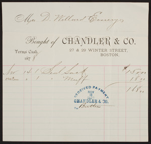 Billhead for Chandler & Co., 27 & 29 Winter Street, Boston, Mass., dated November 18, 1878