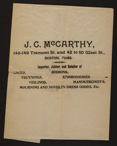 J.C. McCarthy, notions, 148-149 Tremont Street and 42 to 50 West Street, Boston, Mass., undated