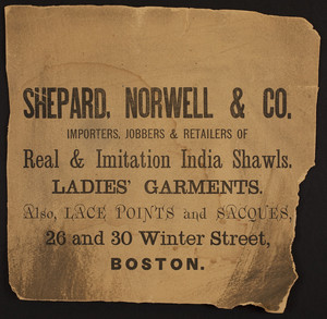 Shepard, Norwell & Co , ladies' garments, 26 and 30 Winter