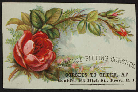 Trade card for Gould's, corsets, 153 High Street, Providence, Rhode Island, undated