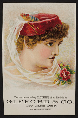 Trade card for Gifford & Co., clothing, 139 Union Street, location unknown, undated