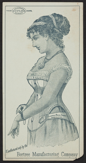 Trade card for the Adjustable Duplex Corset, Bortree Manufacturing Company, location unknown, undated