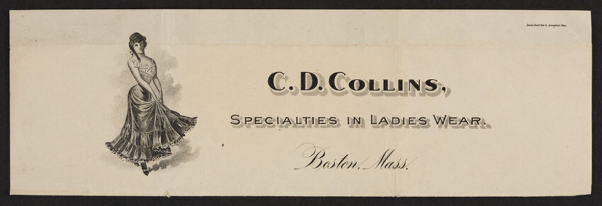 Letterhead for C.D. Collins, specialties in ladies wear, Boston, Mass., undated