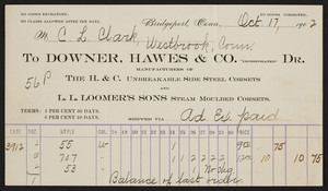 Billhead for Downer, Hawes & Co., Inc., Dr., corsets, Bridgeport, Connecticut, dated October 17, 1902