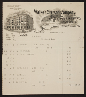 Billhead for the Walker Stetson Company, clothing, Essex & Lincoln Streets, Boston, Mass., dated February 6, 1905