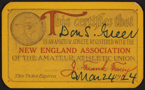 Membership card for the New England Association of the Amateur Athletic Union, location unknown, dated March 24, 1924