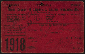 Membership card for the Grand Council of Carpenters, Eastern Massachusetts, January-March, 1918