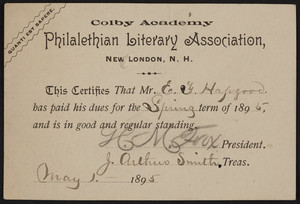 Membership card for the Philalethian Literary Association, Colby Academy, New London, New Hampshire, dated May 1, 1895