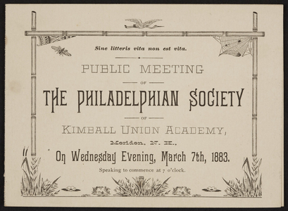 Program for the public meeting of The Philadelphian Society of Kimball Union Academy, Meriden, New Hampshire, Wednesday, March 7, 1883