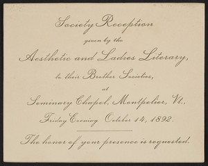 Invitation for the society reception given by the Aesthetic and Ladies Literary, Montpelier, Vermont, October 14, 1892