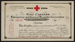 Membership card for the Wage Earners Emergency and General Hospital Association Cooperative, 142 Kingston Street, Boston, Mass., dated January 5, 1900