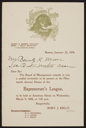 Invitation for The Expressmen's League nineteenth annual dinner, 15 Devonshire Street, Boston, Mass., January 25, 1898