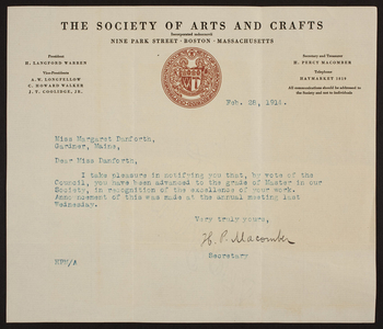 Letterhead for The Society of Arts and Crafts, 9 Park Street, Boston, Mass., dated February 28, 1914