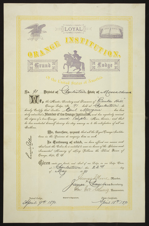 Membership Certificate for the Orange Institution of the United States of America, Charlestown, Mass., dated May 22, 1891