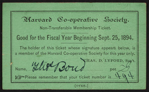 Membership ticket for the Harvard Co-operative Society, Cambridge, Mass., September 25, 1894