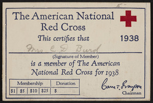 Membership card for The American Nation Red Cross, location unkown, 1938