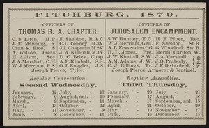 Card for the Fitchburg chapter, encampment, lodges, Fitchburg, Mass., 1870