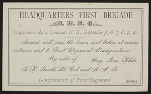 Headquarters First Brigade N.H.N.G., Concord, New Hampshire, undated