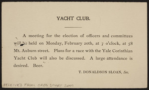 Postcard for the Yacht Club, 58 Mt. Auburn Street, Cambridge, Mass., dated February, 8, 1905