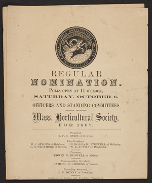 Announcement for the Massachusetts Horticultural Society, regular nomination, 1866