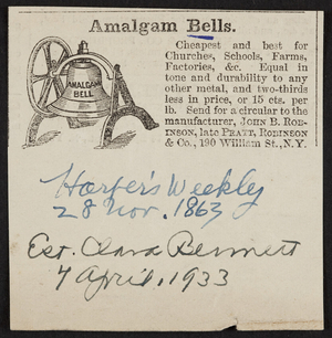 Advertisement for Amalgam Bells, John B. Robinson, late Pratt, Robinson & Co., 190 William Street, New York, New York, dated 28 November, 1863