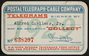 Membership card for the Postal Telegraph-Cable Company, location unknown, 1929